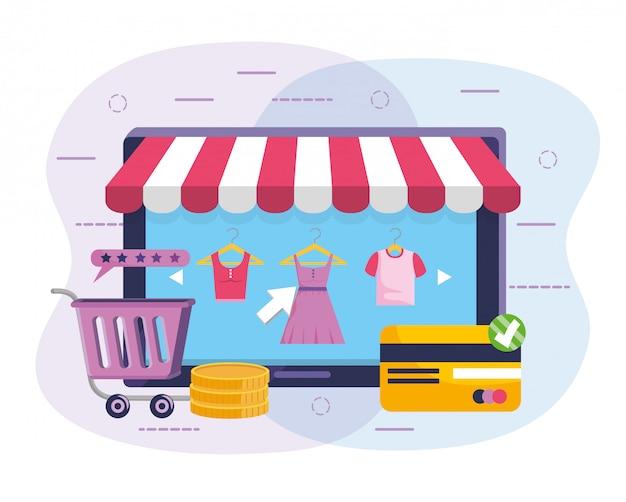 Tecnologia teblet con abbigliamento commerciale e carta di credito