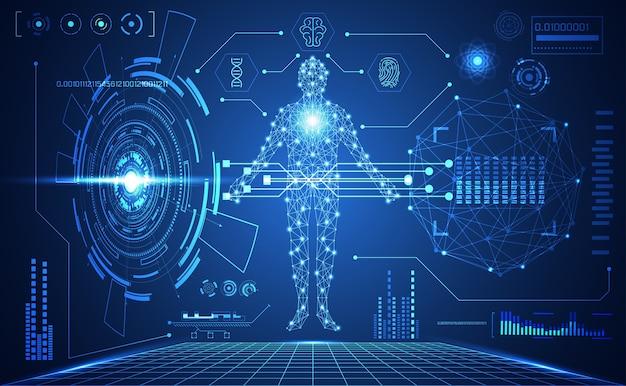 Tecnologia ui futuristica interfaccia hud medica umana