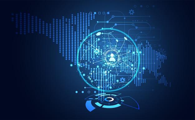 Tecnologia ui futuristica mappa hud interfaccia comunicazione ologramma