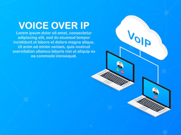 Tecnologia voip, voice over ip. banner per chiamate via internet.