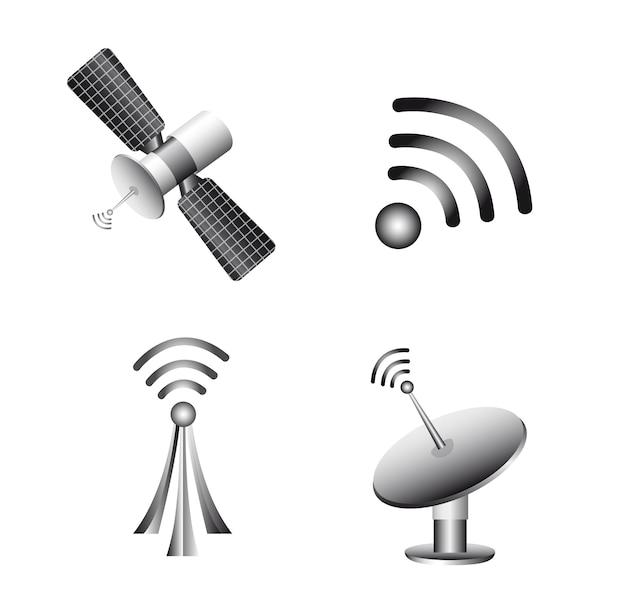 Tecnologia wireless e icone di comunicazione vettoriale