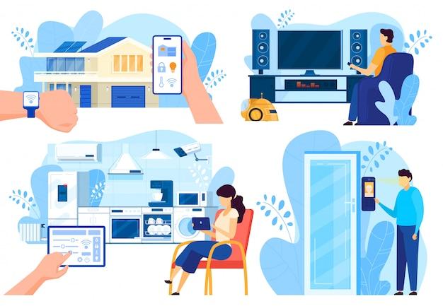 Tecnologie della casa intelligente, persone che controllano i sistemi domestici da remoto, illustrazione vettoriale