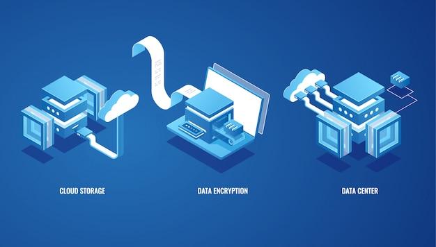 Tecnologie digitali nel mondo degli affari, archiviazione dati cloud, sala server, portafoglio online