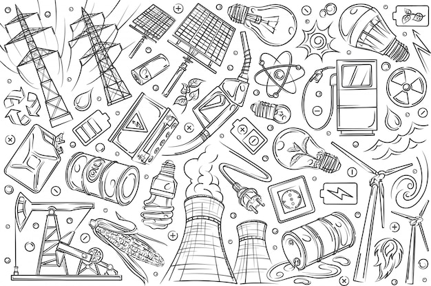 Tecnologie e innovazioni moderne disegnate a mano.