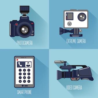 Tecnologie moderne. foto professionale e videocamera, fotocamera estrema e smart phone