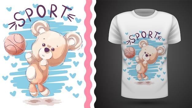 Teddy bear gioca a basket, idea per la t-shirt stampata
