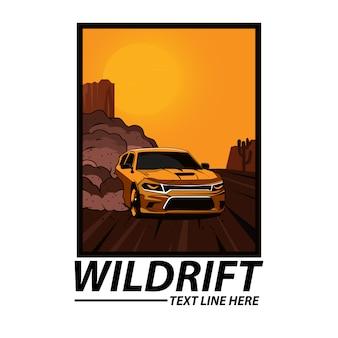 Telaio auto alla deriva gialla con testo