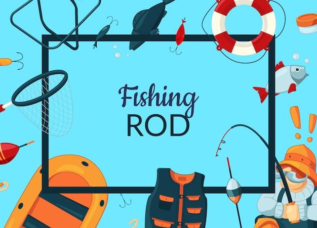 Telaio con attrezzature da pesca cartone animato intorno ad esso con posto per il testo al centro