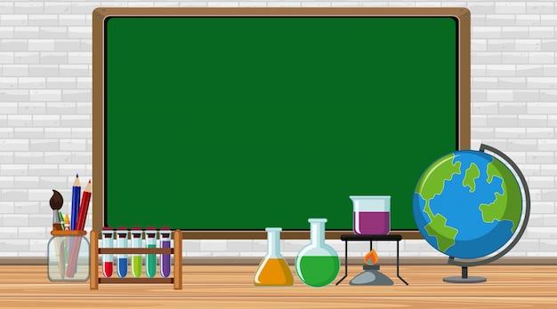 Telaio con attrezzature scientifiche nella stanza