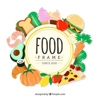 Telaio con cibo delizioso