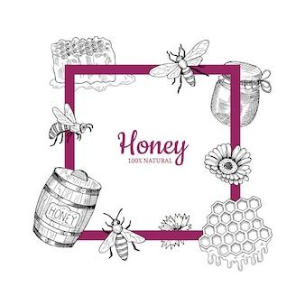 Telaio con elementi di miele disegnati a mano che volano intorno ad esso e posto per l'illustrazione del testo