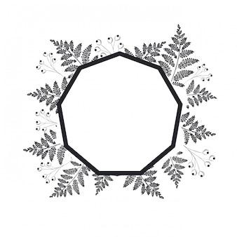 Telaio con piante ed erbe icona isolata