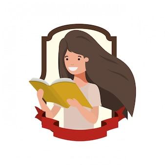 Telaio con ragazza studentessa e libro di lettura