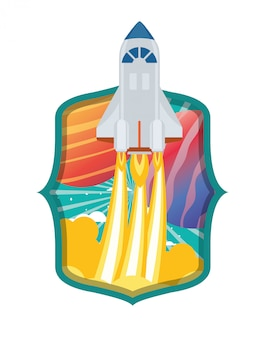 Telaio con razzi decollati e pianeti