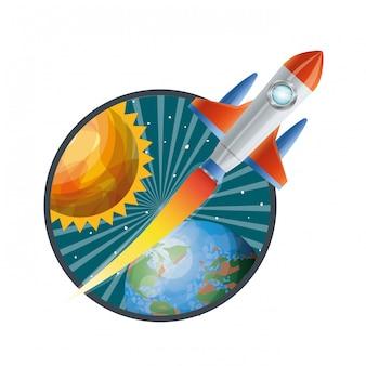 Telaio con razzi volanti e pianeti del sistema solare