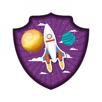 Telaio con razzo volante e pianeti del sistema solare