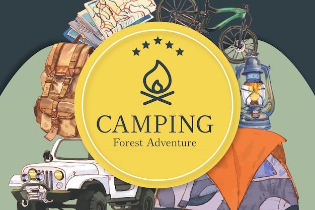 Telaio da campeggio con illustrazioni di bollitore, bicicletta, auto e zaino.