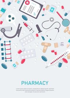 Telaio della farmacia con pillole, droghe, bottiglie mediche. illustrazione piatta farmacia. insegna di sanità e della medicina, fondo del manifesto con lo spazio della copia.