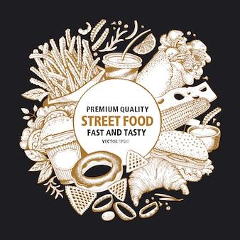 Telaio di vettore di fast food. modello di progettazione di banner cibo di strada.