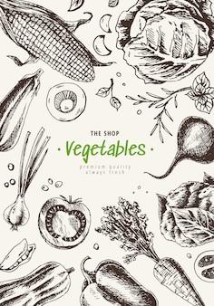Telaio di vista superiore di verdure