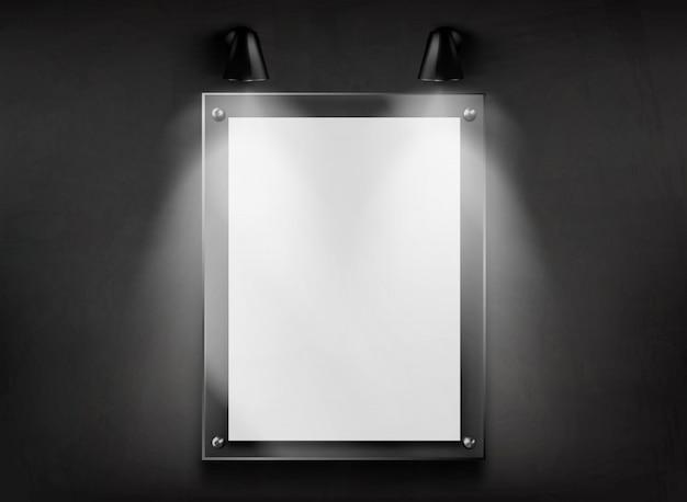 Telaio in vetro piatto in metacrilato sul vettore realistico della parete