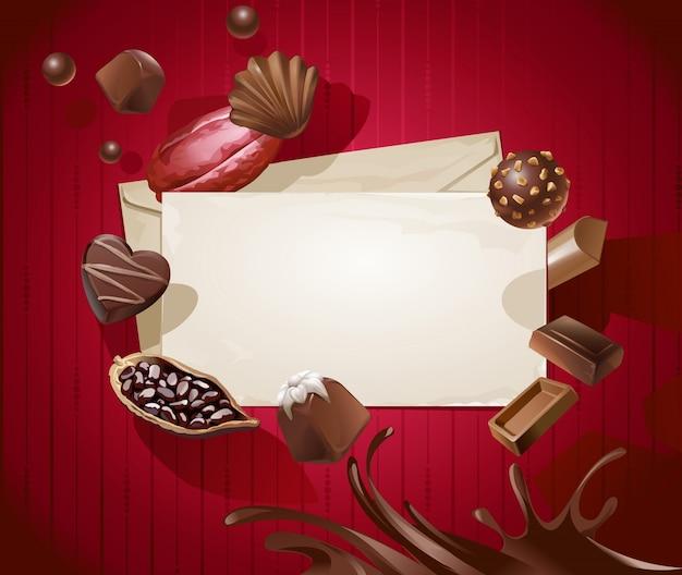 Telaio per il titolo con un modello di cioccolatini
