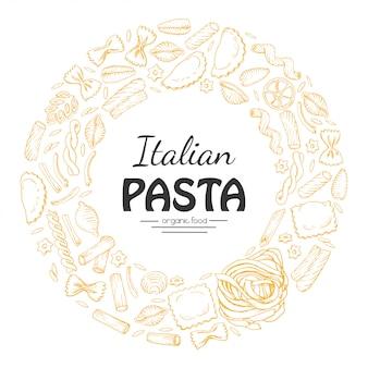 Telaio rotondo vettoriale di pasta italiana