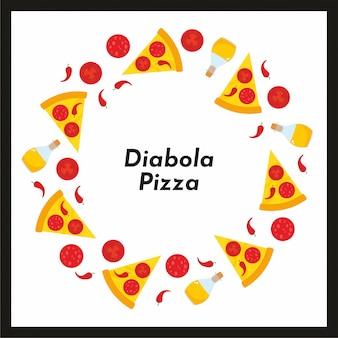 Telaio rotondo vettoriale di pizza e ingredienti.