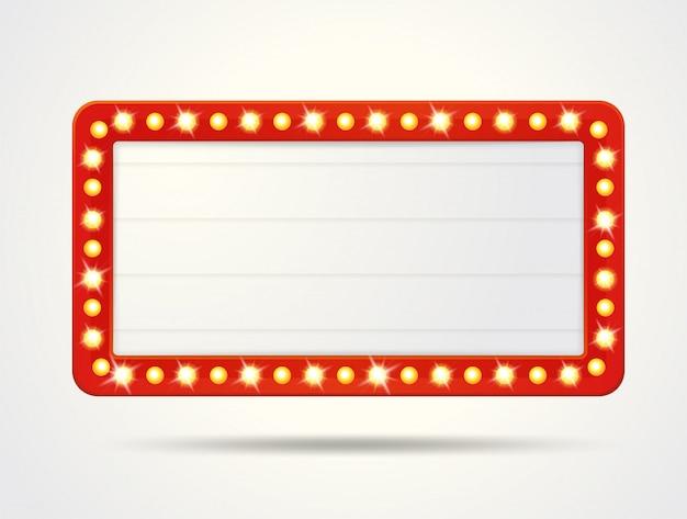 Telaio vector di scatole di luce retrò vuote per l'inserimento del testo.