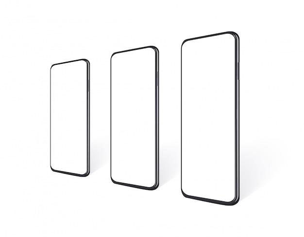 Telefoni realistici in fila e vista prospettica con schermo vuoto. set di cellulare isolato. modello del dispositivo delle cellule nere, illustrazione 3d.