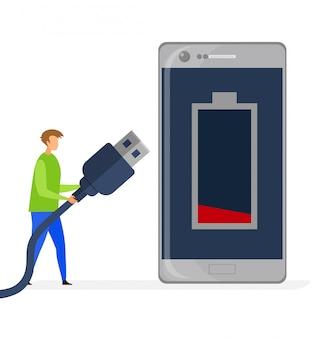 Telefono basso livello di carica piatto