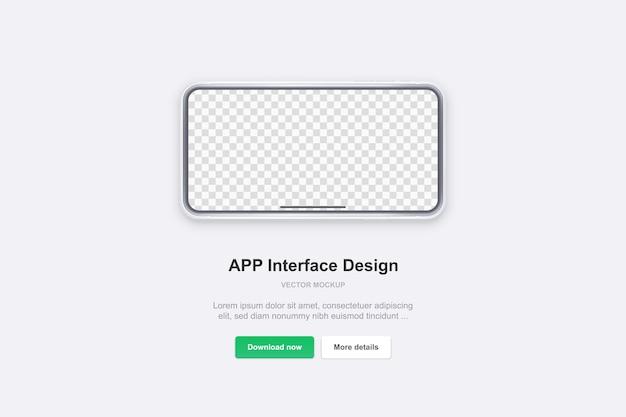 Telefono bianco su sfondo bianco. modello realistico. mock up con schermo vuoto per presentazioni aziendali.