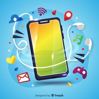Telefono cellulare antigravità con elementi di social media