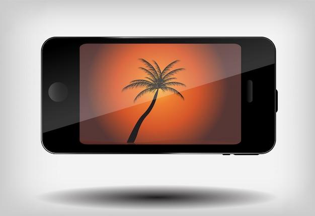 Telefono cellulare astratto con estate e la palma