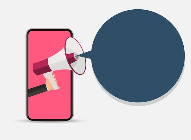 Telefono cellulare astratto con mano e megafono. illustrazione