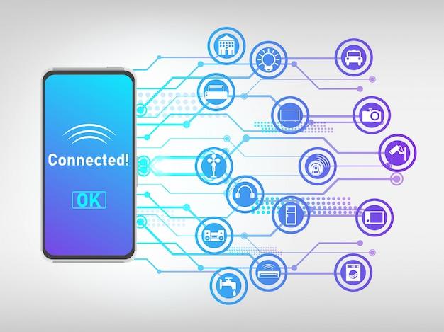 Telefono cellulare collegato con le cose e controllarlo, internet delle cose sfondo astratto.