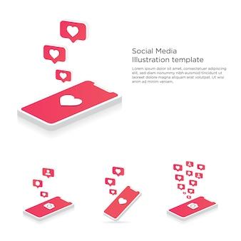 Telefono cellulare con fotocamera, cuore, follower e bolle di commento notifiche push