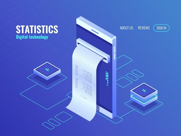 Telefono cellulare con icona isometrica del libro paga, dati sullo schermo dello smartphone
