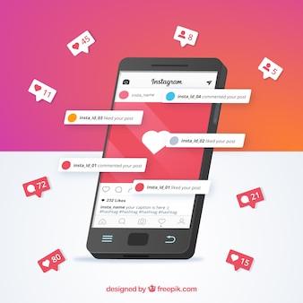 Telefono cellulare con modello di post instagram e notifiche