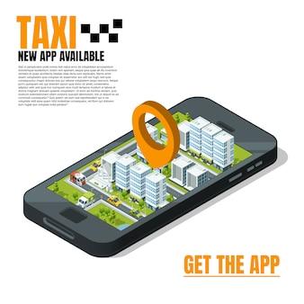 Telefono cellulare con panorama della città. modello di pubblicità taxi online