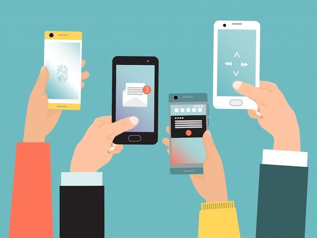 Telefono cellulare della tenuta della mano di concetto, vita di comunicazione moderna con lo smartphone isolato sul blu, illustrazione. telefono con tecnologia virtuale online.