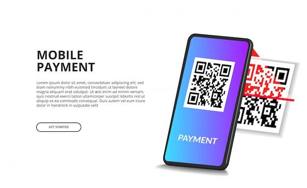 Telefono cellulare di codice qr di scansione di prospettiva 3d per il concetto di pagamento digitale