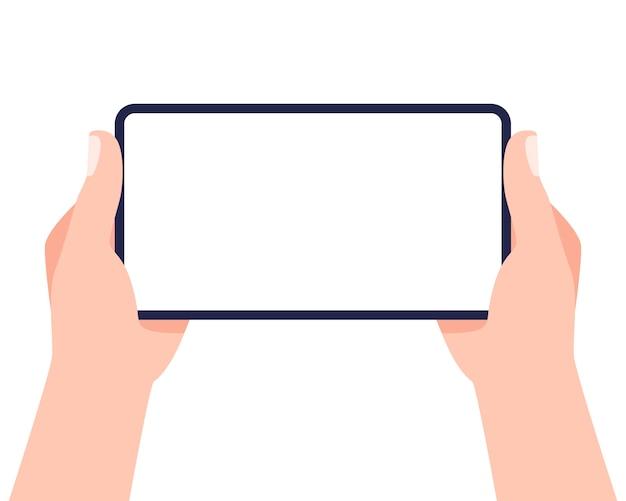 Telefono cellulare in mano. due mani che tengono smartphone e schermo commovente. .