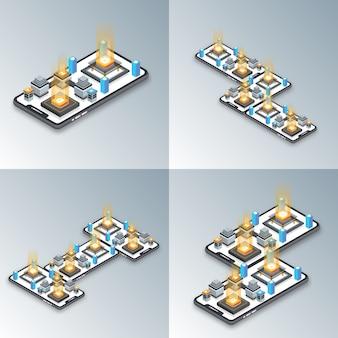 Telefono cellulare isometrico e funzioni con messaggi, contatti, impostazioni, statistiche