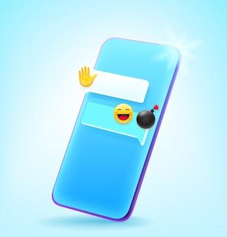 Telefono cellulare moderno stile comico con modello di messaggio