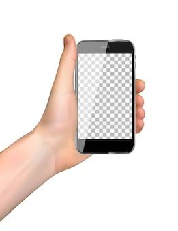 Telefono cellulare realistico della tenuta della mano isolato su bianco