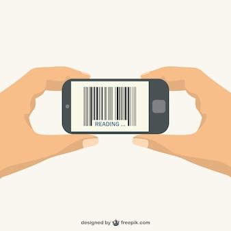 Telefono cellulare scansione di codici a barre vettore