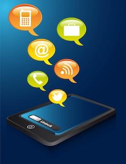 Telefono con bolle di pensiero su sfondo blu vettoriale