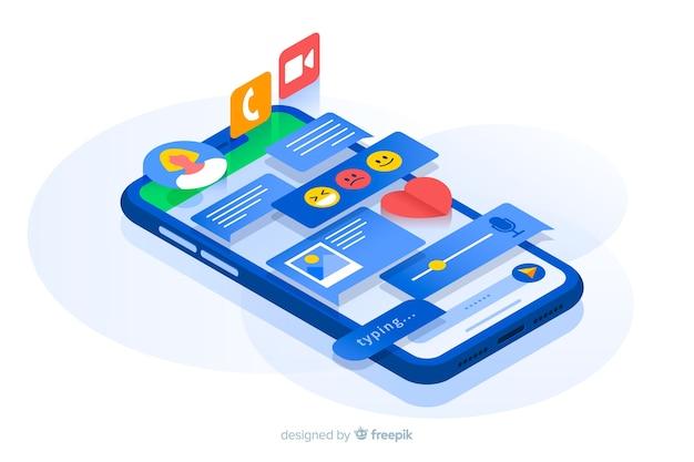 Telefono isometrico con contenuti proiettati dallo schermo