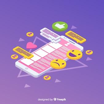 Telefono isometrico con icone e concetto di chat